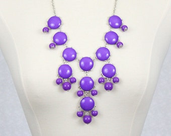 Bubble Necklace Purple Bib Necklace Statement Necklace Violet Necklace