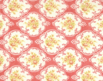 Tiny pink flowers with green leaves on pink background Fresh Cotton quilting fabric 20132-16