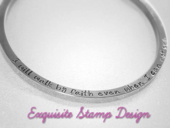 Personalized Bangle - Stainless Steel - Hand Stamped Bangle - Personalized Bracelet - Bangle Bracelet - Hidden Message - Inspirational Gift