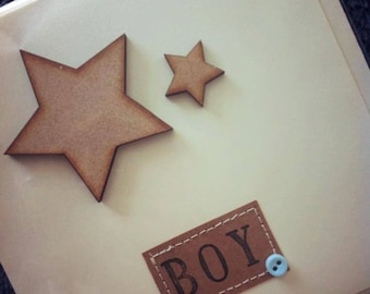 Baby Boy Card, New Baby Card, Shabby Chic Baby Card *HANDMADE*