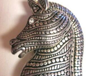Vintage,Modern Cast Metal,Beaded Seams Horse Head Brooch With Clear Rhinestone Eye,Handcrafted,Metal Bead&Strype Work