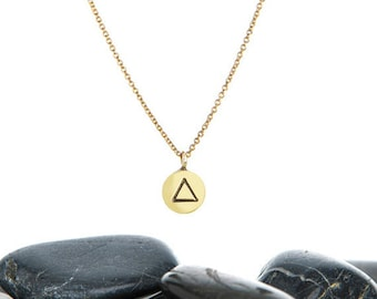 Geometric Necklace, Dainty Necklace, Geometric Jewelry, Triangle Jewelry, Everyday Necklace, Gold Triangle, Tiny Triangle, JIN247MBR