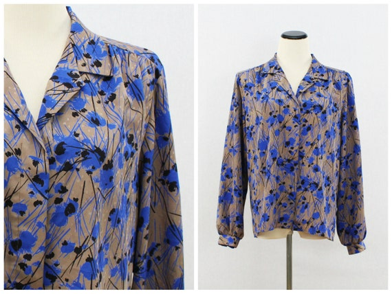 70s Abstract Print Blouse - Cocoa and Blue Button Down Top - Vintage Andre Better Blouse Co Women's Shirt