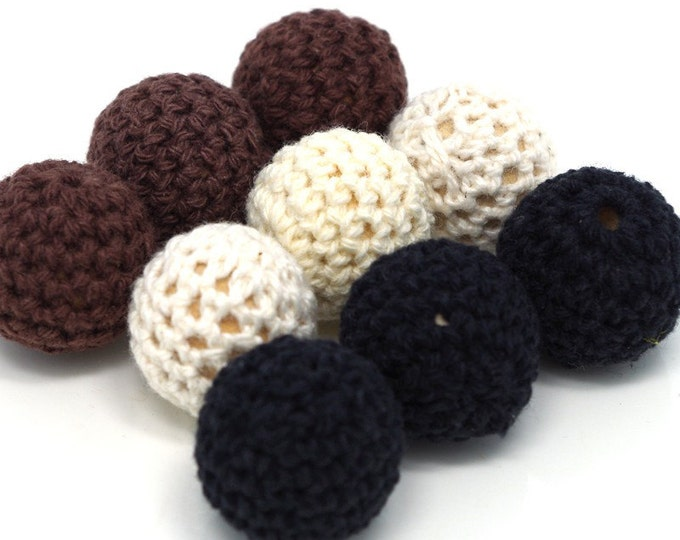 Wholesale Crochet Beads 30pc/lot 20mm Round White/Black/Brown Color Ball Knitting