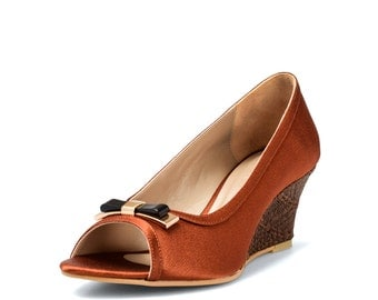 Rosmah Brown Bronze Wedges,Brown Wedges, Slip in Wedges, Brown Slip in Wedges ,Brown woven wedges