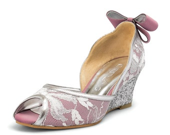Charlene Custom Made Lilac Wedges, Lilac Wedding Shoe, French Lace Bridal Shoe, Lilac Shoe, Lilac Wedges, Pastel Wedding Shoe