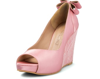 Custom Made Wedges, Pink Lace Wedding Wedges, Platform Wedges, Bridal Wedding Wedges , Beach Wedding Wedges with bow, Peep Toe Wedges