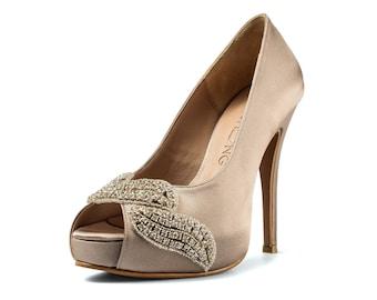 Covet, Dark Champagne Peep Toe Wedding Heel with Swarovski Elements and appliques, Satin Bridal Heel, Dark Champagne Satin Wedding Heel