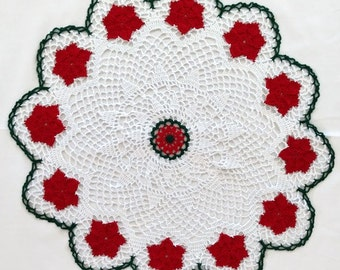 Christmas Doily, Poinsettia Doily, Holiday Doily, Tabletop Decor, Red Green White Round Doily, Floral Design Lacy Doily, Holiday Decor