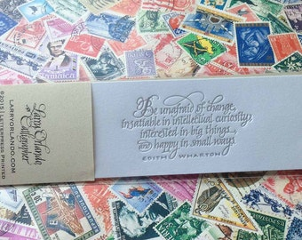 Calligraphic Bookmark with Edith Wharton Quote