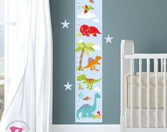 Growth Chart Decal, Dinosaur Height Chart, Personalised Toddler Birthday Gift, Boys Wall Stickers, kids Bedroom Decor, Present for him T-Rex