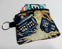 Doctor Who inspired exploding Tardis keychain coin purse. Van Gough police box painting.