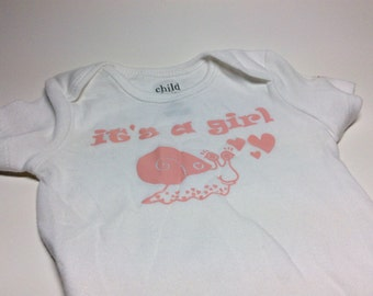 Sample sale - Snail it's a girl Baby Bodysuit 3/6 months - cute - short sleeve