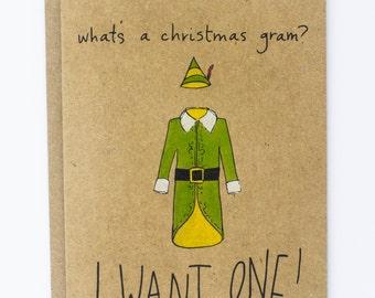 Christmas Gram Elf The Movie Illustrated Christmas Card, Greeting Card