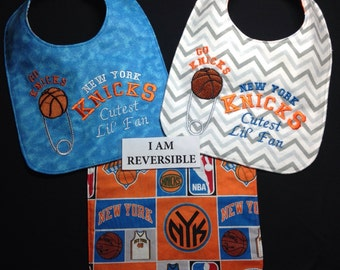 REVERSIBLE New York KNICKS baby bib; Basketball Baby Bib, Cute, Handmade; Cutest Lil' Fan; Diaper pin Embroidery, may be personalized