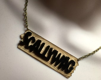 SCALLYWAG....Birchwood/Acrylic laser cut Pirate influenced necklace