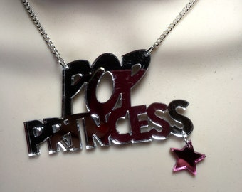 POP PRINCESS..with hanging star..silver mirror Acrylic statement necklace