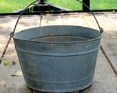Galvanized Pail - Vintage Feed Bucket - Old Water Pail - Rusty Galvanized Barn Bucket - Grain Bucket - Chore Bucket