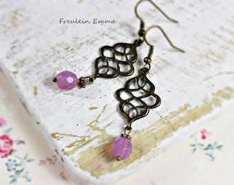 Earrings vintage node PINK bronze