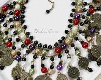 MARJAN statement necklace bronze coloured short black