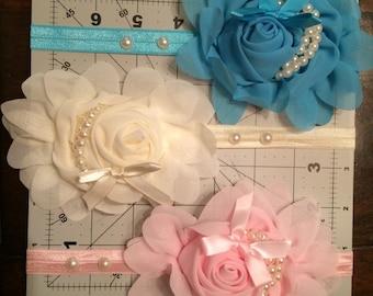 chiffon and pearl headband, baby girl  floral headband pink, ivory or blue