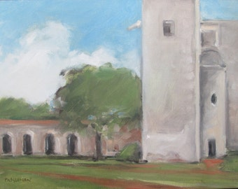 Original oil of San Antonio Mission #2 - 9x12 - Landscape