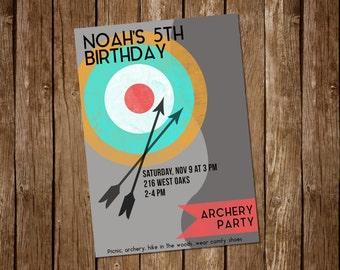 Customized Archery Party Invitation, archery, modern, modern invitation, archery, bow, arrow