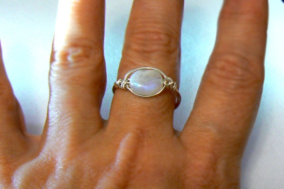 Moonstone gemstone silver ring- Rainbow moonstone wire wrapped sterling silver ring- Fashion, trendy ring-  size 8,9 - Boho women stone ring