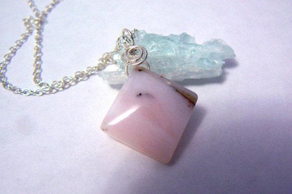 Pink Peruvian opal gemstone pendant. Women pink opal necklace- Swirl opal sterling silver pendant- Opal gemstone - Women gift
