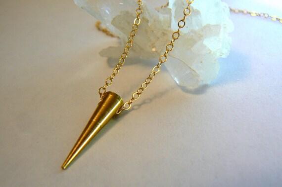Conical spike gold chain pendant- Raw brass spike gold filled chain- Boho minimalist layered jewelry- Geometric brass women jewelry