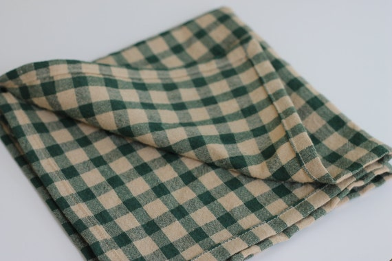 Country check homespun napkins, rustic farmhouse napkins, green check cotton homespun napkins, made to order napkins, primative napkins