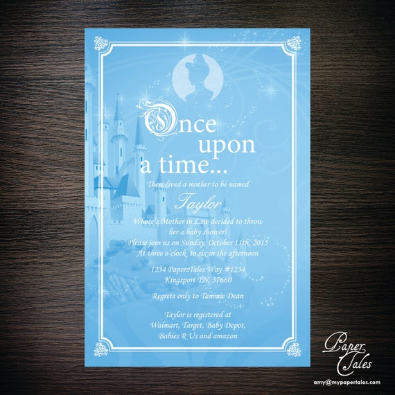 blue once upon a time baby shower invitation by papertalescustom
