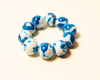D-00975 - 10 Glass beads 8mm Blue