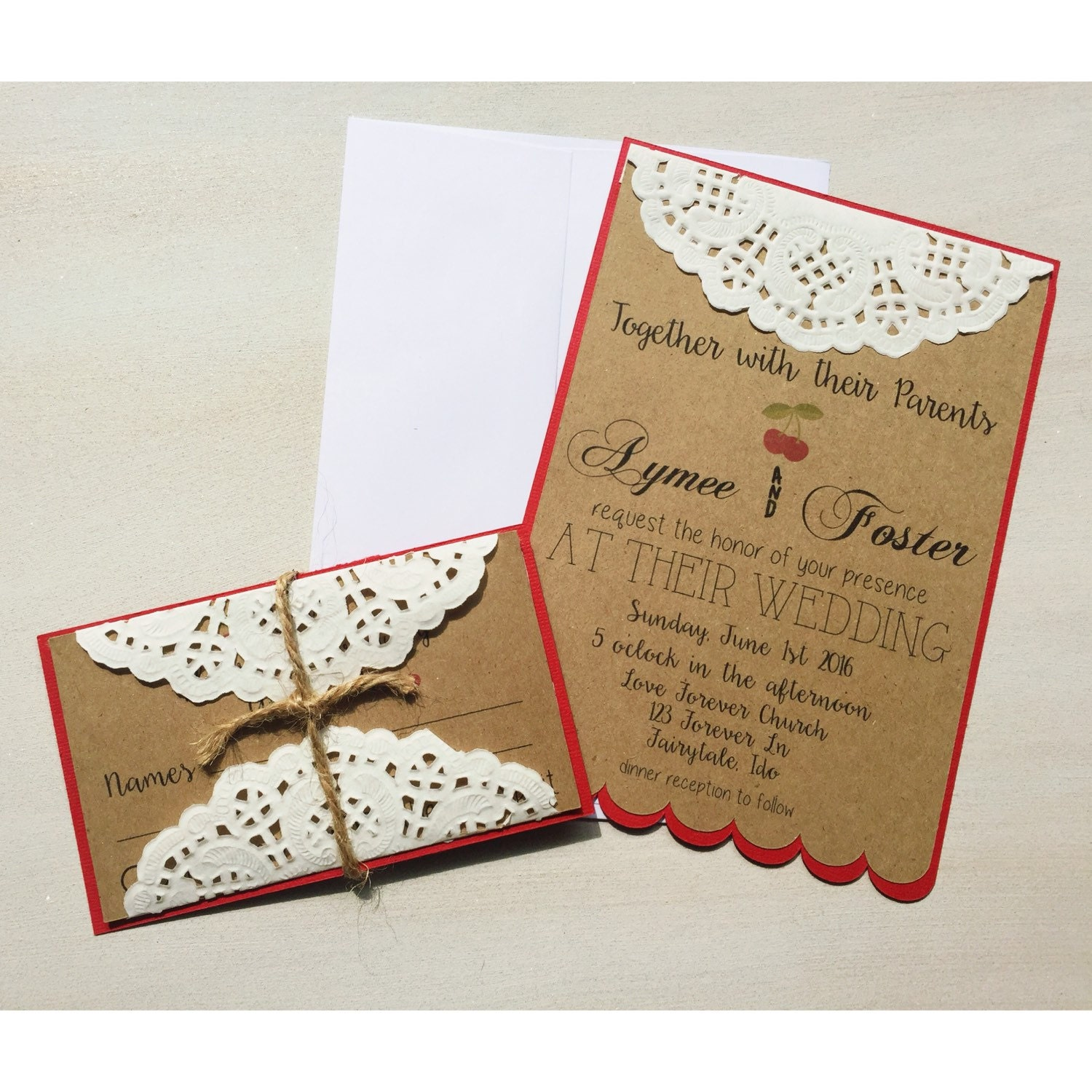 Doily Wrapped Wedding Invitations was best invitation sample