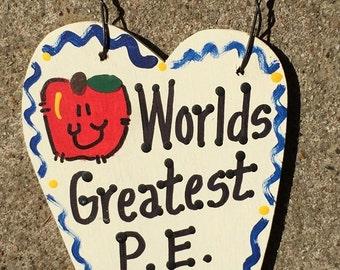 Teacher Gifts 3015 Worlds Greatest P E Teacher Long Heart  w/Apple School Positions