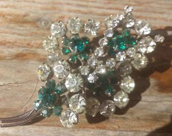 Pretty vintage green and white rhinestone brooch