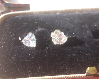 Vintage sterling silver and cubic zirconia heart stud earrings