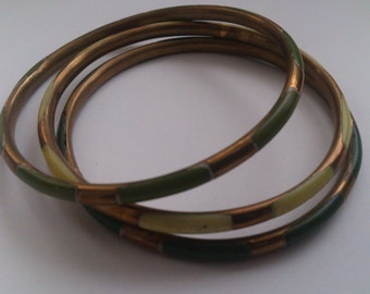 Three Vintage Brass and Green Enamel Bangles