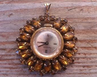 Vintage Rhinestone Timemaster Pendant watch