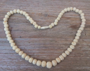 Vintage carved bone bead necklace