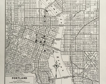 Vintage Black & White Map of Portland, Oregon