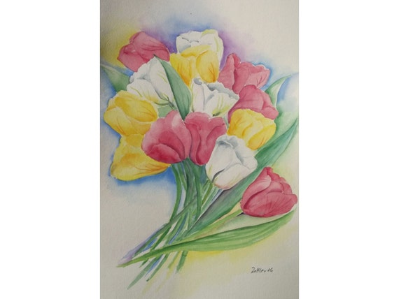 Großes Tulpenbild Original Aquarell rote gelbe weiße