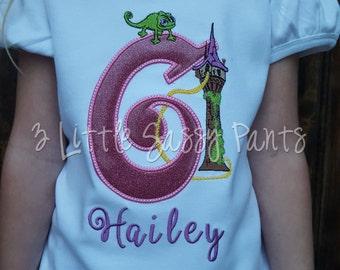 Princess Rapunzel  Birthday Shirt- Custom Girls Birthday Shirt- Princess Shirt- Embroidered- Applique Birthday Shirt- Tangeled