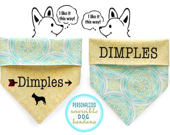 Personalized Stylish  Reversible Dog Bandana
