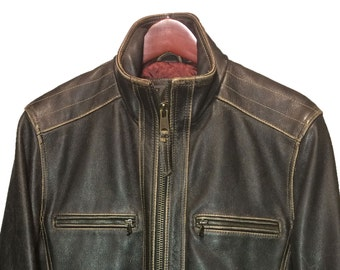Marc By Andrew Marc Black Leather Cafe Racer Motorcycle Jacket Men's Size S