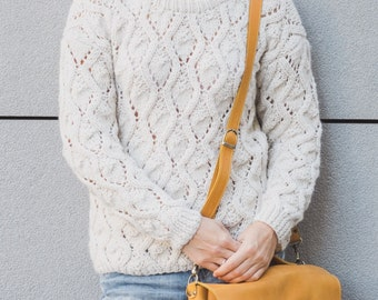 Woman's Hand Knit Sweater / Milk Sweater / Wool Sweater