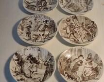 Vintage Boxed Set French Street Scene Plates - SIX Sarregemines Side Plates - Ceramic La Rue/Street Scenes
