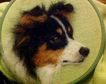 2D Needle Felted Picture Border Collie Dog