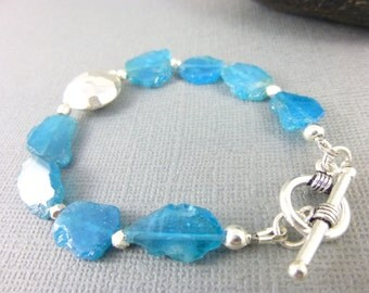 Blue Apatite Heart Chakra Bracelet Neon Blue Raw Apatite Nugget Slices Sterling Silver Organic Chakra Bracelet Gift for Her Chakra Jewelry