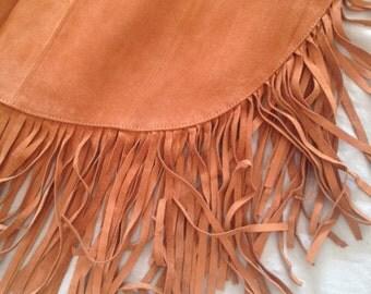 Suede fringe long skirt